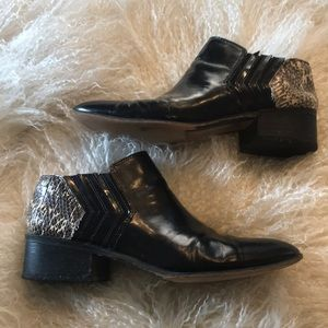 Snake and Blk leather booties